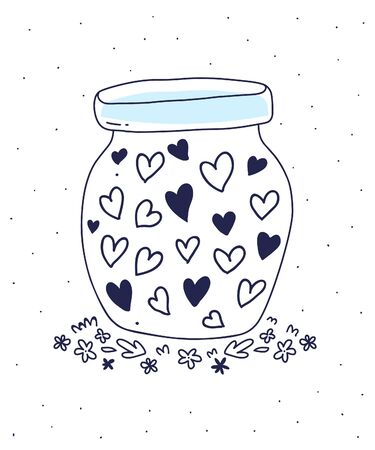 Vector illustration for St. Valentine's Day or Mothers Day of glass jar with many hearts on white background. Flat hand drawn line art style for print, web, site, wedding invitation, greeting card