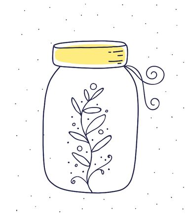 Vector illustration of glass jar with floral herb on white background with dots. Flat hand drawn line art style for print, web, site, invitation, greeting card