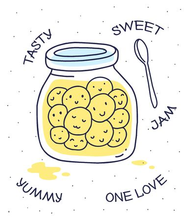 Vector illustration of yellow color glass jar with sweet smile face on white background with spoon and key words. Flat hand drawn line art style for print, web, site, invitation, greeting card