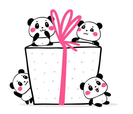 Vector illustration of many lovely cartoon pandas with big gift box with pink ribbon. Happy cute pandas congratulate on holiday on white background. Flat style design for poster, greeting card, tshirt, birthday sticker Illustration