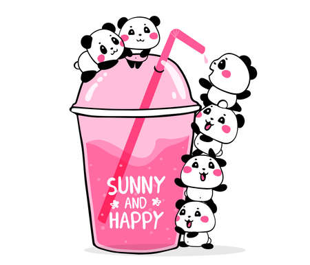 Happy cute pandas drink fruit pink cocktail in a plastic glass to take and go with a straw on white background. Vector illustration of many lovely cartoon pandas. Flat line art style design for poster, greeting card, tshirt, sticker, print