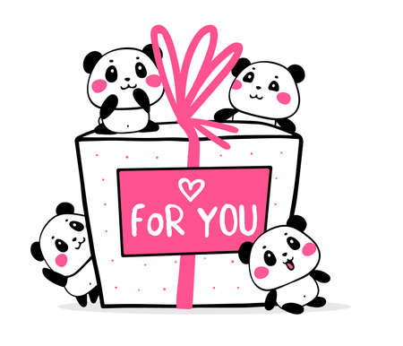 Happy cute pandas congratulate on holiday on white background. Vector illustration of many lovely cartoon pandas with big gift box with pink ribbon and card. Flat style romantic design for greeting card, tshirt, valentine day sticker