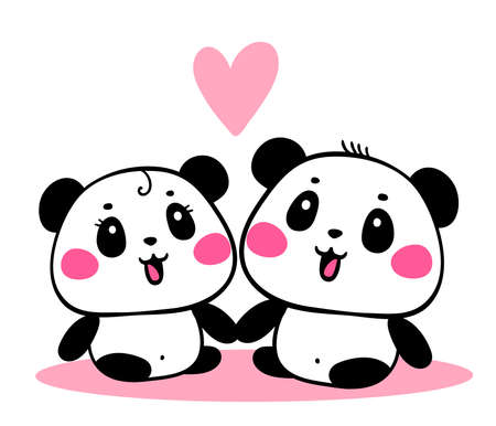 Vector illustration of lovely cartoon panda sit together on white background. Happy romantic little cute panda. Flat line art style hand drawn design for poster, greeting card, tshirt, print, sticker Illustration