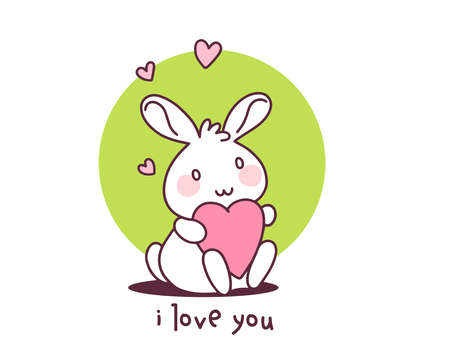 Happy little cute bunny with heart on white background. Vector illustration of lovely cartoon rabbit holding a pink heart. Flat line art style hand drawn design for greeting card, invitation, tshirt, print, sticker