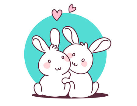 Two happy little cute bunny hug on white background. Vector illustration of lovely cartoon two white rabbit with heart. Flat line art style hand drawn design for greeting card, invitation, tshirt, print, sticker
