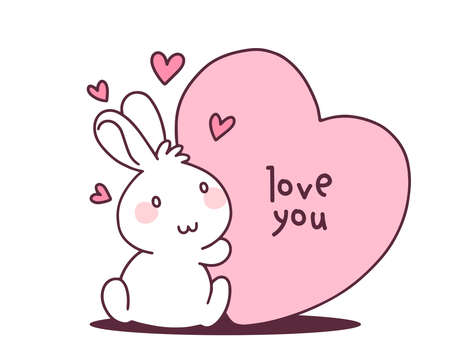 Vector illustration of lovely cartoon rabbit holding a big heart of pink color on white background. Happy little cute bunny. Flat line art style hand drawn design for greeting card, invitation, tshirt, print, sticker