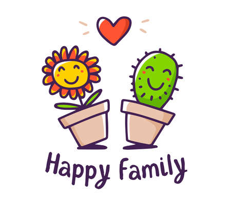 Vector color illustration of cartoon floral family. Lovely happy flower and cactus with red heart and text on white background. Doodle line art style design for card, web, site, print