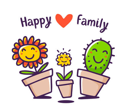 Vector illustration of cartoon floral family: mom, daddy, child with red heart and text. Lovely happy flower and cactus on white background. Doodle line art style design for card, web, site, print