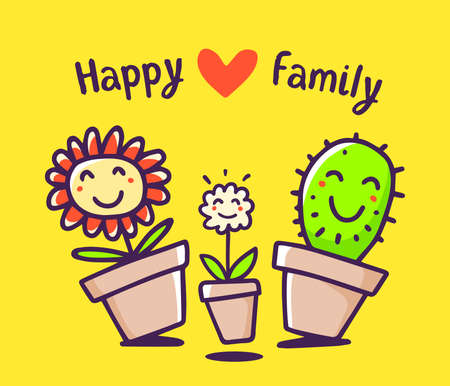 Vector colorful illustration of cartoon happy flower and cactus on yellow background. Lovely floral family: mom, daddy, child with red heart and text. Doodle line art style design for card, web, site, print Ilustrace
