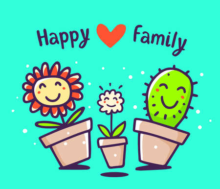 Vector colorful illustration of cartoon happy flower and cactus with red heart and text on blue background. Lovely floral family: mom, daddy, child. Doodle line art style design for card, web, site, print Ilustrace