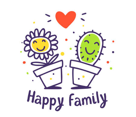 Vector illustration of cartoon flower and cactus with red heart and text. Lovely happy floral family on white background. Doodle line art style design for card, web, site, print Ilustrace