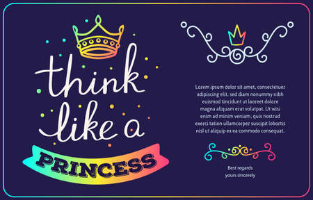 Vector rainbow gradient color template for princess with handwritten lettering, crown, text on dark background. Calligraphic inscription. Hand drawn design for greeting card, wedding invitation, gift print