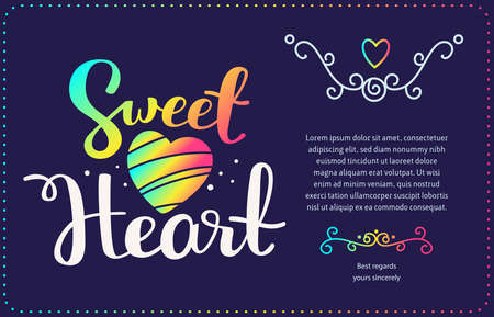 Sweet vector template with handwritten lettering, rainbow gradient color heart, text, frame on dark background. Calligraphic inscription. Hand drawn design for greeting card, wedding invitation, valentine day card, gift print Illustration