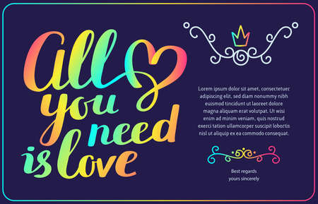 Rainbow gradient color vector template with handwritten lettering, heart, text on dark background. Calligraphic inscription. Hand drawn design for greeting card, wedding invitation, valentine day card, gift print Illustration