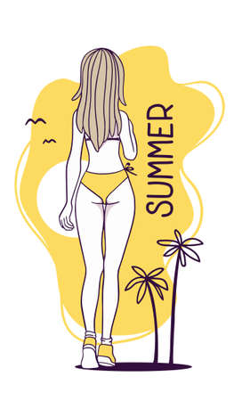 Vector summer illustration of a fashion girl back view in a yellow swimsuit with long hair and leg. Hand drawn flat line art style design of model girl for web, site, card, poster Illustration