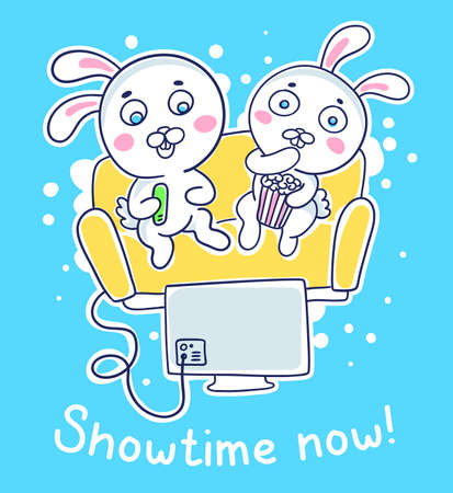 Vector illustration of a cute white rabbit is watching a movie with friend sitting on sofa with popcorn on blue background. Line art style design with text for web, site, banner, poster