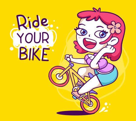 Vector illustration of sport happy girl on a bicycle lifted up the front wheel on yellow background with text. Hand drawn line art style design of active girl for web, site, card, banner