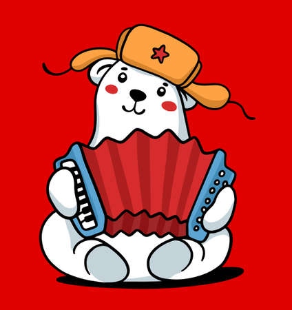 Vector color illustration of traditional symbol of Russia. Cartoon happy white bear in winter fur hat with ear flaps and red musical instrument Russian accordion. Line art style design for web, card, print, poster Ilustração