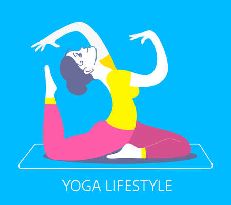 Vector bright illustration of a beautiful fitness girl on blue background. Girl doing a stretching exercise. Hand drawn flat style girl for web, site, card, t-shirt, print