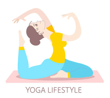 Girl is sitting in a yoga pose on a mat. Vector color illustration of a beautiful fitness girl on white background. Hand drawn flat style girl for web, site, card, t-shirt, print Ilustrace
