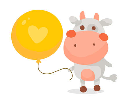 Vector color illustration of cute cartoon cow with big yellow balloon on white background. Hand drawn flat style design for web, site, greeting card, invitation, sticker, t-shirt print