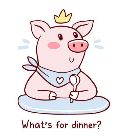 Vector illustration of king pig in golden crown with bib and spoon waiting for food. Hand drawn flat style design of symbol of the new year 2019.