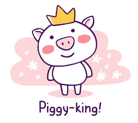 Vector illustration of royal cartoon smile piggy in golden crown with snout and text on pink background with flower. Hand drawn flat style design of symbol of the new year 2019.