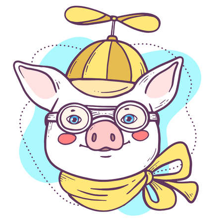 Vector portrait illustration of cute cartoon male pig in yellow hat with whirligig, neck handkerchief, pilot glasses. Hand drawn line art style design of symbol of the new year 2019.
