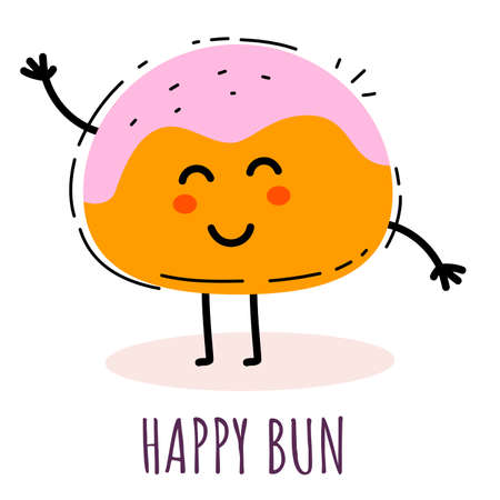 Vector illustration of happy appetizing ruddy bun character with pink glaze on white background. Flat line art style design for web, site, poster, banner, print, sticker