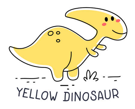 Vector illustration of happy yellow cute child dinosaur character on white background. Flat doddle line art style design of dinosaur for web, site, poster, banner, print, sticker Vetores