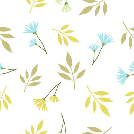 Vector floral seamless pattern with beautiful twig of plant with green color leaf and cornflower flower on white background. Flat style pattern design for web, site, poster, banner, card, print, textile, paper