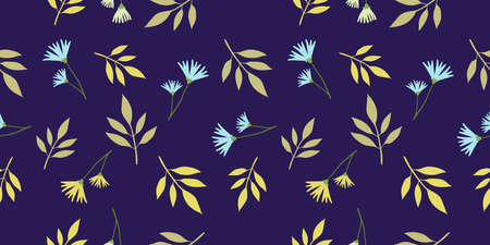 Vector floral seamless pattern with beautiful twig of plant with green color leaf and cornflower on dark background. Flat style flower pattern design for web, site, poster, banner, card, print, textile, paper