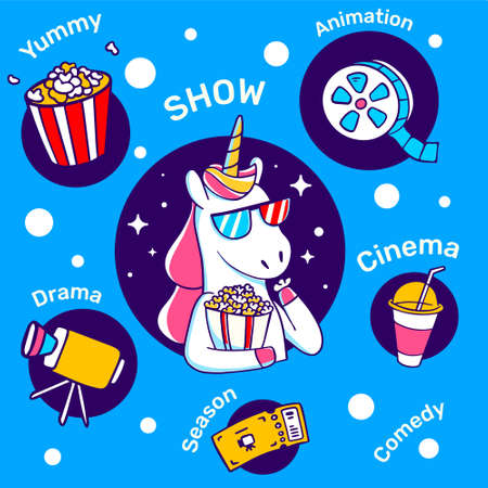 Vector illustration of horse with horn eating popcorn and watching tv on blue background. Magic unicorn in cinema glasses with icon. Line art design for unicorn poster, banner, web, site