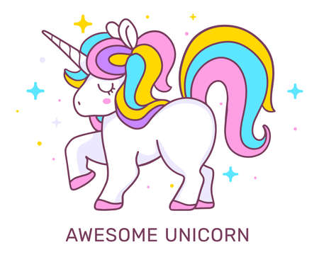 Vector illustration of magic unicorn. Little pony with rainbow mane, horn and close eyes on white background with star and text. Line art design for unicorn party poster, invitation, greeting card 矢量图像