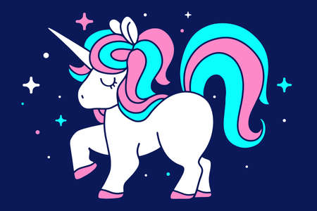 Little pony with rainbow mane, horn and close eyes on dark background with star. Vector illustration of magic white unicorn. Line art design for unicorn party poster, invitation, greeting card