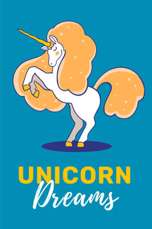 Vector illustration of magic unicorn with golden mane and horn reared up on dark background with text. Line art style design to make unicorn party poster, invitation, greeting card