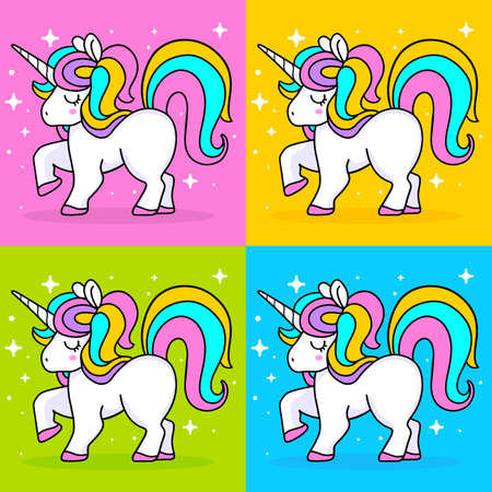 Vector set of illustration of magic white unicorn with rainbow mane, horn and close eyes. Line art design on bright color background with star to make unicorn party poster, invitation, greeting card