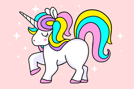 Vector illustration of magic white unicorn with rainbow mane, horn and close eyes on pink background with star. Line art design to make unicorn party poster, invitation, greeting card