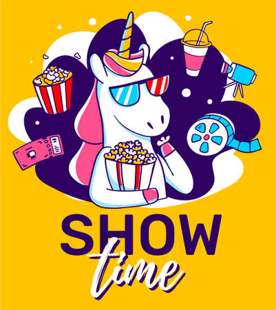 Vector illustration of magic unicorn in cinema glasses with icon. Horse with horn eating popcorn and watching tv on yellow background with text. Line art design for unicorn poster, banner, web, site