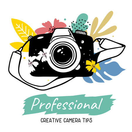 Vector illustration of black slr photo camera with flower and strap on white background with text. Flat line art style design of professional photo camera for web, site, poster, banner, print, sticker
