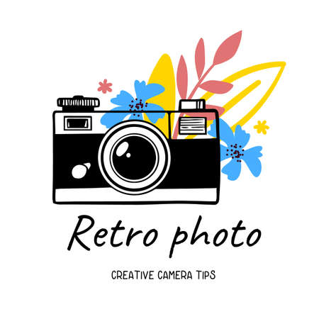 Vector illustration of vintage photo camera on white background with flower and text. Flat line art style design of photo camera for web, site, poster, banner, print, sticker