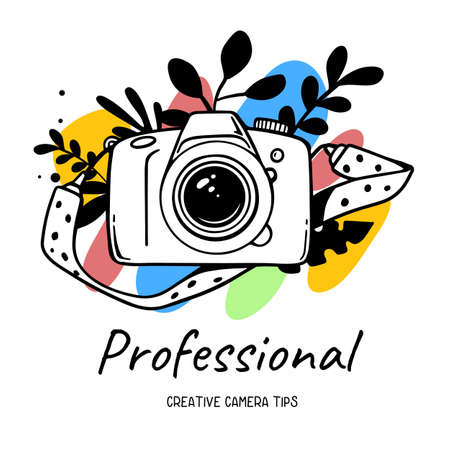 Vector illustration of white slr photo camera with strap on white background with flower and text. Flat line art style design of photo camera for web, site, poster, banner, print, sticker