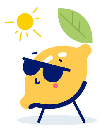 Vector summer illustration of character yellow color lemon sunbathe on a deck chair under the sun on white background. Flat style design for web, site, banner, vacancy card, holiday poster 일러스트