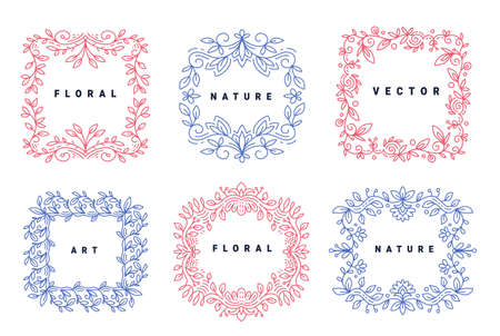 Vector set of template with color floral ornament frame and text on white background