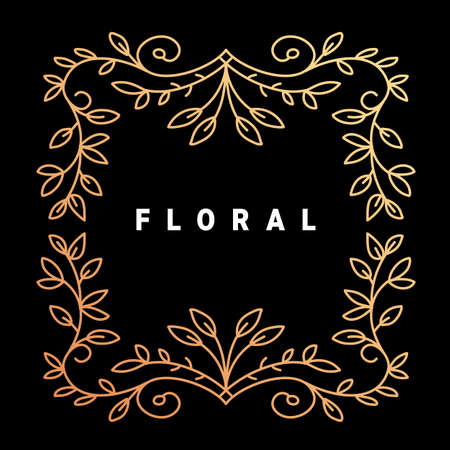 Vector golden color template with text floral and ornament square frame on dark background Illustration