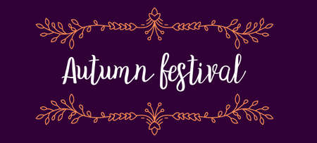 Vector template with color ornament border and text autumn festival on dark background