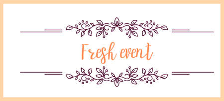 Vector template with color ornament border and text fresh event on white background