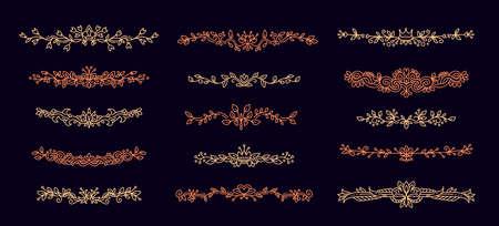 Vector set of golden color floral border with ornament on dark background