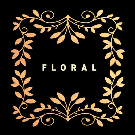 Vector template with text floral and golden color ornament frame on dark background