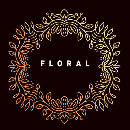 Vector golden color template with text floral and ornament round frame on dark background Illustration